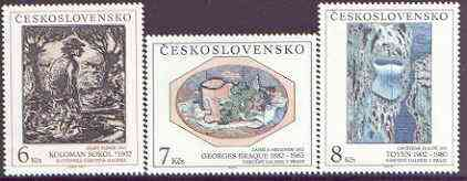 Czechoslovakia 1992 Art (27th issue) set of 3 unmounted mint, SG 3107-09