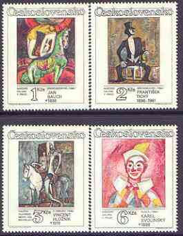 Czechoslovakia 1986 Paintings of Circus & Variety Acts perf set of 4 unmounted mint, SG 2854-57