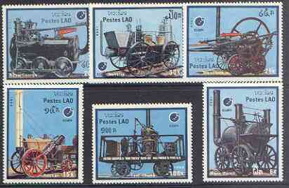 Laos 1988 'Essen 88' Stamp Exhibition - Early Railway Locomotives perf set of 6 unmounted mint, SG 1071-76