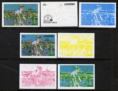 Lesotho 1988 Tennis Federation 30s (Ivan Lendl) unmounted mint set of 7 imperf progressive colour proofs comprising the 4 individual colours plus 2, 3 and all 4-colour co...