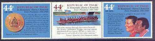 Palau 1985 Pres Remelik Commemoration perf strip of 3 unmounted mint, SG 142-44