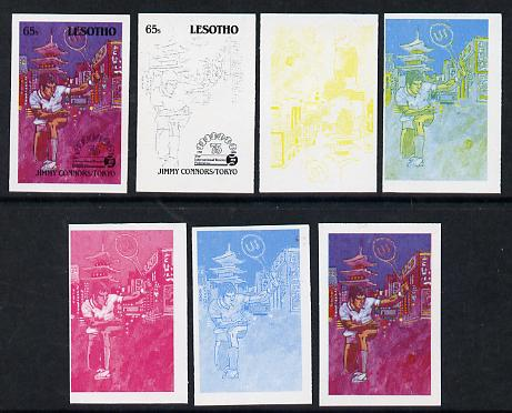 Lesotho 1988 Tennis Federation 65s (Jimmy Connors) unmounted mint set of 7 imperf progressive colour proofs comprising the 4 individual colours plus 2, 3 and all 4-colour composites (as SG 846)
