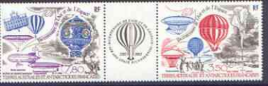 French Southern & Antarctic Territories 1984 Bicentenary of Manned Flight, se-tenant strip of 2 plus label (Balloons & Airships) unmounted mint, SG 190a