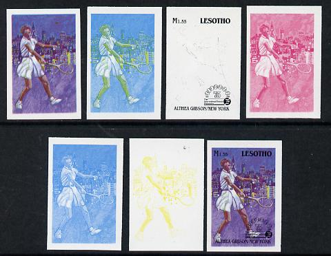 Lesotho 1988 Tennis Federation 1m55 (Althea Gibson) unmounted mint set of 7 imperf progressive colour proofs comprising the 4 individual colours plus 2, 3 and all 4-colour composites (as SG 848)