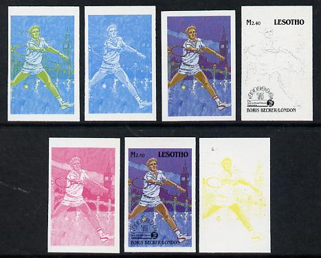 Lesotho 1988 Tennis Federation 2m40 (Boris Becker) unmounted mint set of 7 imperf progressive colour proofs comprising the 4 individual colours plus 2, 3 and all 4-colour composites (as SG 850)