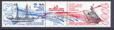 French Southern & Antarctic Territories 1989 Ships perf strip of 2 plus label unmounted mint, SG 250a