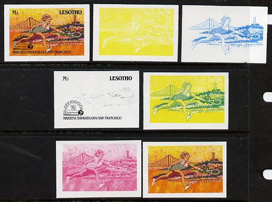 Lesotho 1988 Tennis Federation 3m (Martina Navratilova) unmounted mint set of 7 imperf progressive colour proofs comprising the 4 individual colours plus 2, 3 and all 4-c...