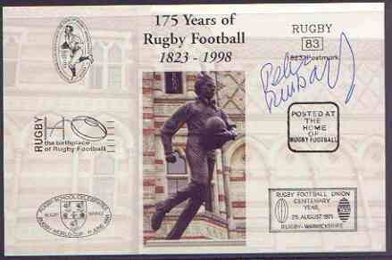 Postcard privately produced in 1998 (coloured) for the 175th Anniversary of Rugby, signed by Peter Rossborough (England - 7 caps & Coventry) unused and pristine