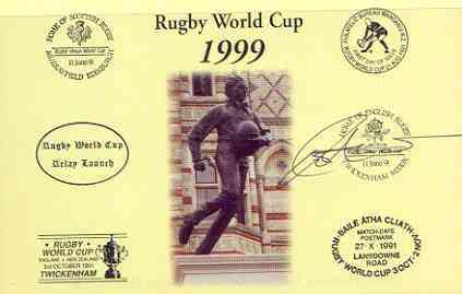 Postcard privately produced in 1999 (coloured) for the Rugby World Cup, signed by Rob Andrew (England - 71 caps & British Lions) unused and pristine