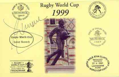 Postcard privately produced in 1999 (coloured) for the Rugby World Cup, signed by Epeli Taione (Tonga & Newcastle) unused and pristine