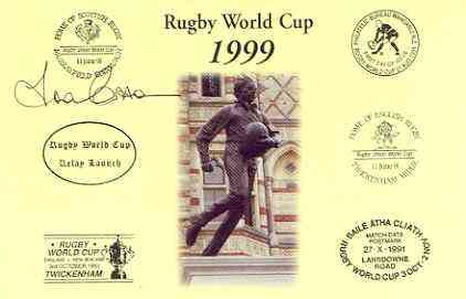 Postcard privately produced in 1999 (coloured) for the Rugby World Cup, signed by Fran Cotton (England - 31 caps, captain & British Lions) unused and pristine