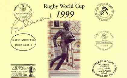 Postcard privately produced in 1999 (coloured) for the Rugby World Cup, signed by Bill Beaumont (England - 34 caps, captain & British Lions captain) unused and pristine