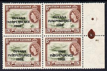 Guyana 1966 Water Lilies 3c with Independence opt (Local opt on Script CA wmk) unmounted mint block of 4, one stamp with '1966' for 'GUYANA' error SG 422a