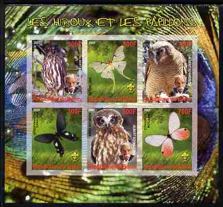 Benin 2007 Owls & Butterflies imperf sheetlet containing 6 values unmounted mint. Note this item is privately produced and is offered purely on its thematic appeal