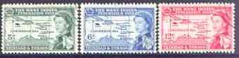 Trinidad & Tobago 1958 British Caribbean Federation set of 3 fine used, SG 281-83