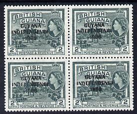 Guyana 1966 Botanical Gardens 2c with Independence opt (Local opt on Script CA wmk) unmounted mint block of 4 with fine offest of opt on gummed side (as SG 421)