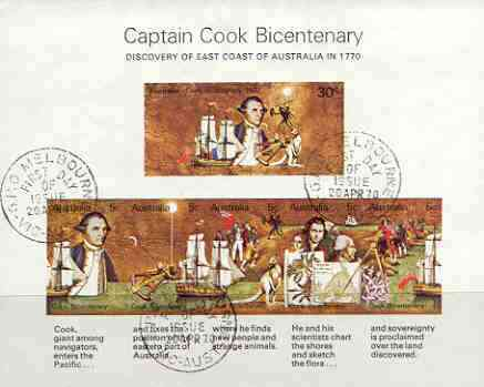 Australia 1970 Bicentenary of Cook's Discovery imperf m/sheet fine cto used, SG MS 465