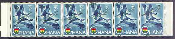 Ghana 1965 New Currency 24p on 2s Crowned Cranes strip of 6 with surch applied obliquely, stamp 6 with 24p at bottom instead of top unmounted mint, SG 393var