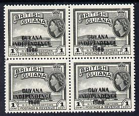 Guyana 1966 GPO Georgetown 1c with Independence opt (Local opt on Script CA wmk) unmounted mint block of 4 with fine offest of opt on gummed side (as SG 420)