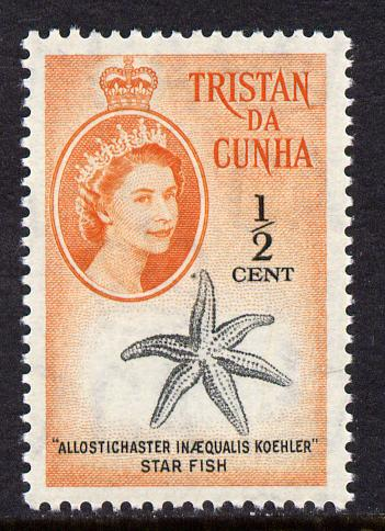 Tristan da Cunha 1961 Starfish 1/2c from def set unmounted mint, SG 42, stamps on marine life, stamps on starfish