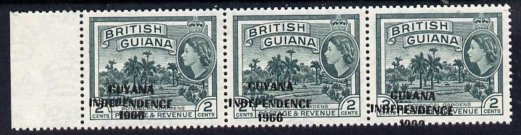 Guyana 1966 Botanical Gardens 2c with Independence opt (Local opt on Script CA wmk) unmounted mint strip of 3 with opt misplaced obliquely (as SG 421)