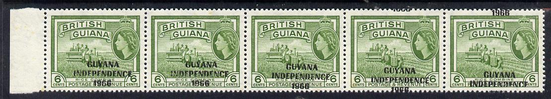 Guyana 1966 Rice Combine 6c with Independence opt (Local opt on Script CA wmk) unmounted mint strip of 5 with opt misplaced obliquely (as SG 424)