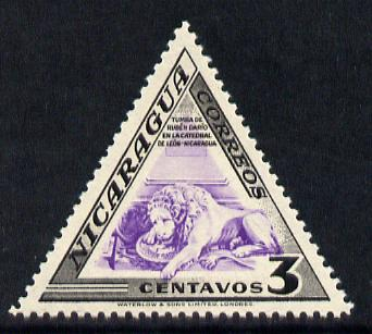 Nicaragua 1947 Lion on Ruben Dario's Tomb 3c triangular shaped unmounted mint SG 1097