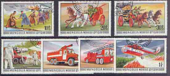 Mongolia 1977 Fire Fighting Services set of 7 fine used, SG 1072-78