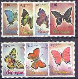 Nicaragua 1986 Butterflies perf set of 7 fine used SG 2805-11*