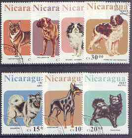 Nicaragua 1987 Dogs perf set of 7 fine used, SG 2878-84*