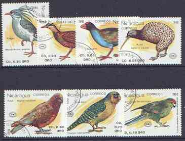 Nicaragua 1990 New Zealand 1990 Stamp Exhibition (Birds) complete perf set of 7 fine used, SG 3071-77*