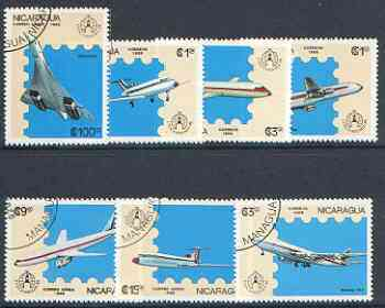 Nicaragua 1986 'Stockholmia 86' Stamp Exhibition set of 7 Aircraft fine used, SG 2783-89*