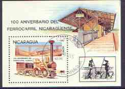 Nicaragua 1985 150th Anniversary of German Railways perf m/sheet fine used, SG MS 2665