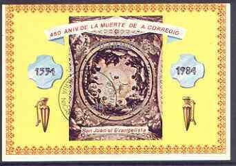Nicaragua 1984 450th death Anniversary of Correggio (artist) perf m/sheet fine used, SG MS 2598