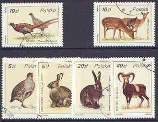 Poland 1986 Game Birds & Animals set of 6 fine cto used, SG 3032-37*