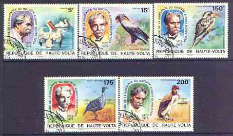 Upper Volta 1975 Birth Centenary of Dr Albert Schweitzer (Birds) perf set of 5 fine cto used