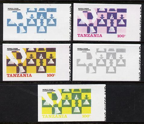 Tanzania 1986 World Chess Championship 100s set of 5 imperf progressive colour proofs comprising single & multiple colours incl all 4 colours as issued (as SG 462) unmounted mint*