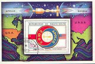 Upper Volta 1975 Apollo-Soyuz Space Project perf m/sheet cto used
