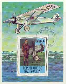 Upper Volta 1978 History of Aviation perf m/sheet (Spirit of St Louis) cto used, SG MS 480