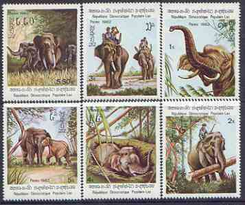 Laos 1982 Indian Elephants perf set of 6 unmounted mint, SG 521-26