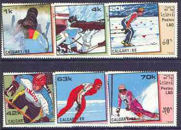 Laos 1988 Calgary Winter Olympics (2nd issue) perf set of 6 unmounted mint, SG 1046-51