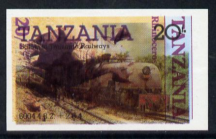 Tanzania 1985 Railways 20s (SG 432) IMPERF printed over 1986 Rhinocerous 20s (SG 481) a remarakable item  unmounted mint
