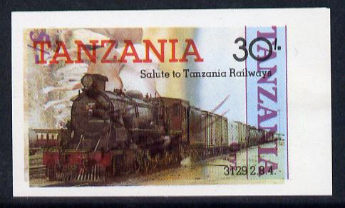 Tanzania 1985 Railways 30s (SG 433) IMPERF printed over 1986 Animals 5s (SG 479) unusual unmounted mint