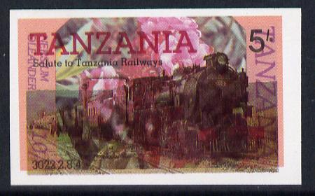 Tanzania 1985 Railways 5s (SG 430) IMPERF printed over 1986 Flowers 10s (SG 476) unusual unmounted mint