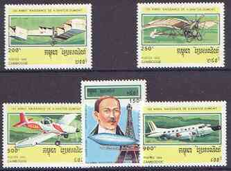 Cambodia 1993 120th Birth Anniversary of Alberto Santos-Dumont (aviator) perf set of 5 unmounted mint, SG 1312-16