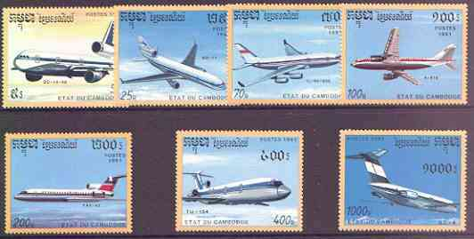 Cambodia 1991 Airplanes perf set of 7 unmounted mint, SG 1171-77