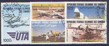Comoro Islands 1985 50th Anniversary - Aircraft perf set of 5 cto used, SG 587-91*