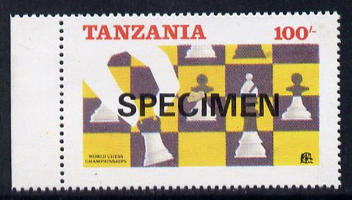 Tanzania 1986 World Chess Championship 100s the unissued design incorporating the Tanzanian emblem & inscriptions at top, unmounted mint opt'd SPECIMEN (gutter pairs available price x 2)