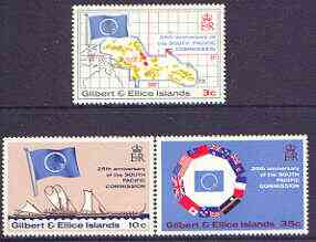 Gilbert & Ellice Islands 1972 25th Anniversary of South Pacific Commission perf set of 3 unmounted mint, SG  196-988