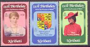 Kiribati 1982 21st birthday of Princess of Wales perf set of 3 unmounted mint, SG 183-85 (gutter pairs available - price x 2)